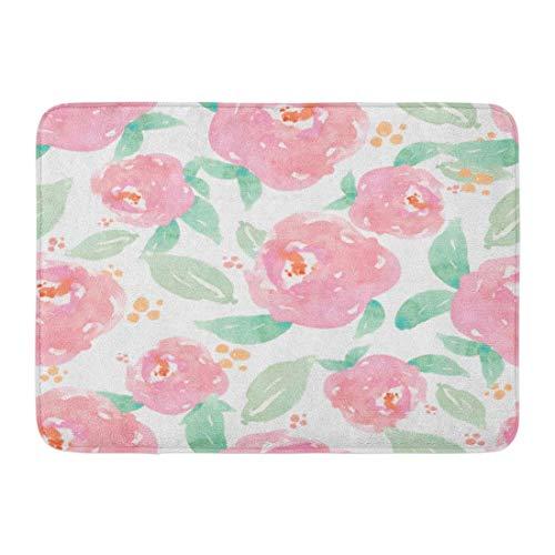 Bai Qian Rutschfeste Fußmatten Muster Girly Rosa Aquarell Floral Mint Aquarell Hintergrundmuster Langlebige Teppiche 40 x 60 cm