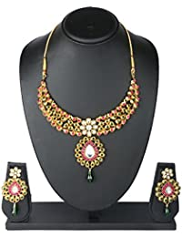 BIG Tree Traditional Wedding Pink And Green Golden Necklace Set For Women And Girls