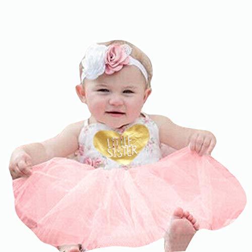 Livoral Mädchen ärmelloses Blumen Brief drucken Kleid Sommer Kleinkind Baby Tutu Kleid(Rosa,90)