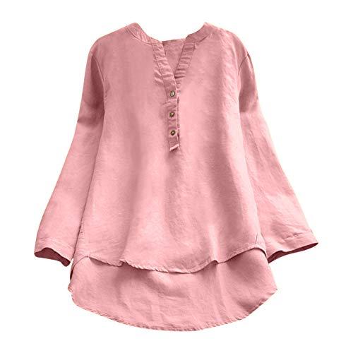 (MYMYG Herbst Frühling Sommer Elegante Damen Frauen Stehkragen Langarm Casual Täglichen Party Strand Urlaub Lose Tunika Tops T-Shirt Bluse(C1-Rosa,EU:44/CN-3XL)