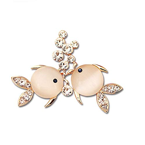 Belle Maison Schönes Haus Koreanische Version des Diamanten Persönlichkeit Fische Paar Kleidung Dornschließe Pin Opal Brosche Frauen 3 Pack -
