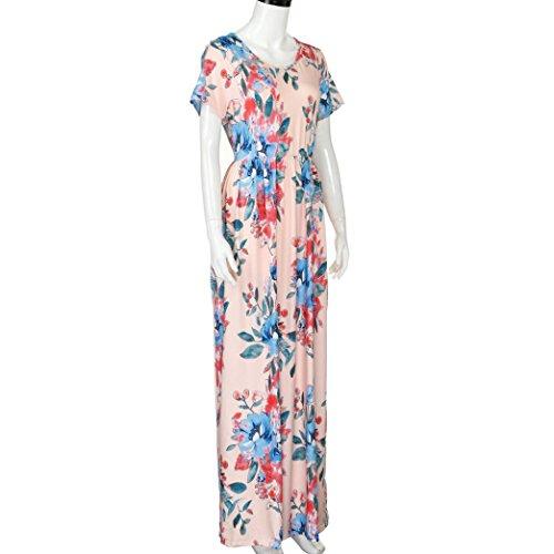 Donne summer Dress manica corta stampa floreale Beach Party Abito lungo casuale Rosa