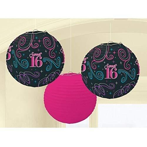 Party-Set zum 16. Geburtstag für Mädchen – Geschirr Luftballons und Dekorationen für Alter 3 Paper Laterns