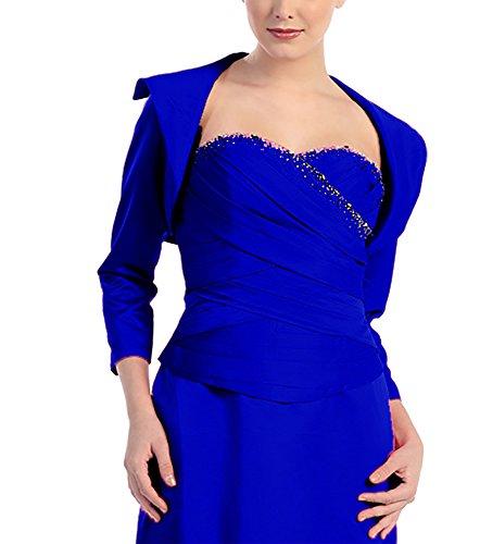 Veste boléro jaeckchen foulard abendjacke cape de coiffeur satin Bleu - Bleu royal