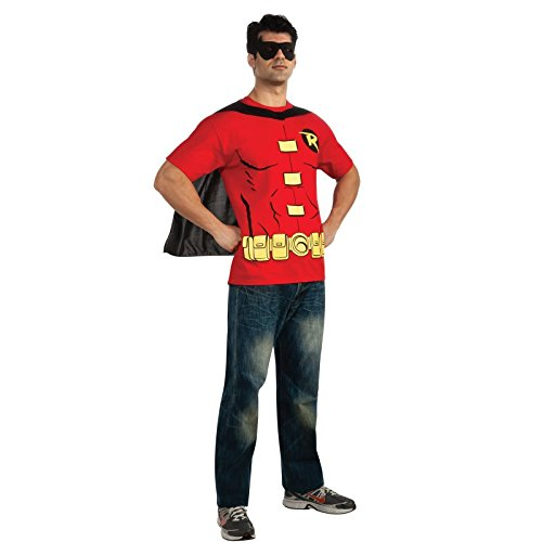 Robin t-Shirt da Uomo – Kit Costume da Batman Mask Cape Superhero Sidekick da Adulto Red X-Large