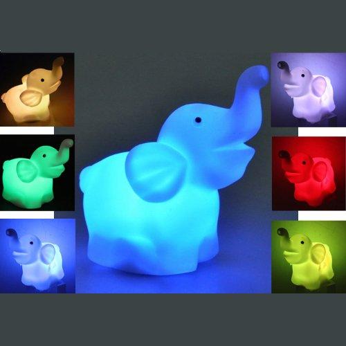 Sonline Lampara Luz LED Plastico Elefante Colores Intercambiables Decoracion Bateria