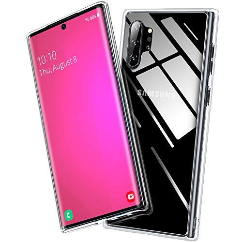 BANNIO Hülle Kompatibel mit Samsung Galaxy Note 10 Plus,Durchsichtige 9H Hartglas Handyhülle,Kratzfeste mit Weichem TPU Bumper Glashülle Schutzhülle Case für Samsung Galaxy Note10+/5G,Crystal Clear