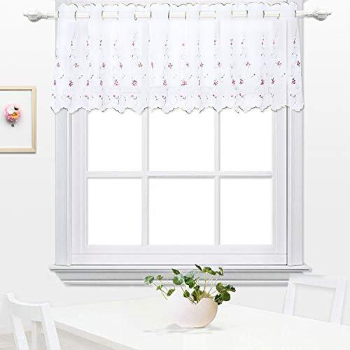 Mantovana tenda , tenda per finestre , cucina valances , tenda per cucina ricamata moderna trasparente floreale per sala caffè , da pranzo, bagno e salotto 45x145cm bocciolo di rosa