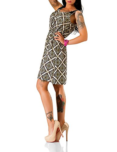 24brands Mini robe ethnique robe motif de plage floral femmes d'été avec de la dentelle et fermeture éclair été robes - 3070 Modell 1 Beige