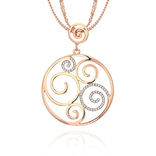 Collana lunga per donna, collana pendente geometrica per ragazze in oro rosa o collana in argento con collana a catena in cristallo (oro rosa)