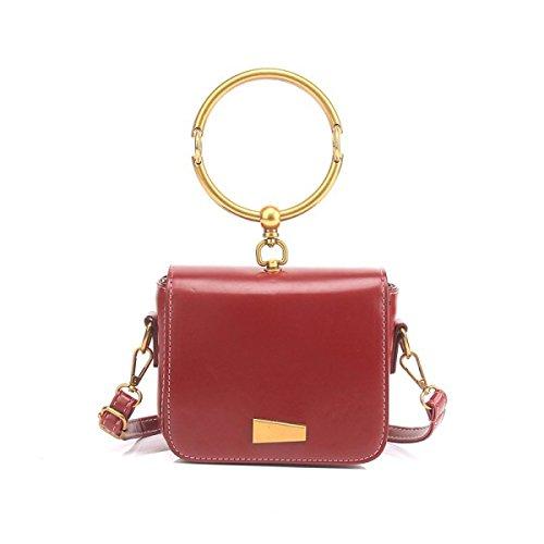 FZHLY Piccola Piazza Del Nuovo Modo Delle Signore Di Sacchetto Selvaggio Shoulder Bag Messenger,YellowBrown Red