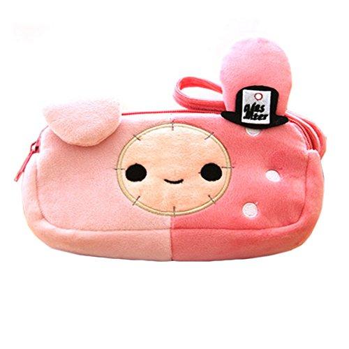 Mignon lapin en peluche cosmétiques Pen Pencil Bag Case (18 * 9 * 5 CM, rose)