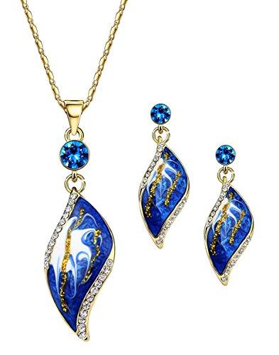 NEOGLORY Conjunto de Joya Collar Pendientes Esmalte Azul Oro 14K Enchapado Joya Original Mujer
