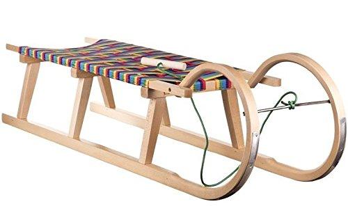 Best For Kids Hörnerrodel 127 cm mit Zugleine Rodelschlitten Davoser aus Holz bis 150 kg belastbar