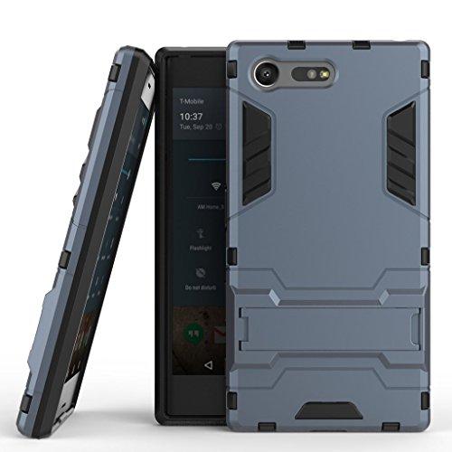 Handyhülle Sony Xperia X Compact Hülle Schale Tasche, Ougger Extreme Schutz Schön Stoßdämpfung [Kickstand] Leicht Armor Hülle Schutz Schönhülle Case Hart PC + Soft TPU Gummi Haut 2in1 Back Gear Rear Schwarz