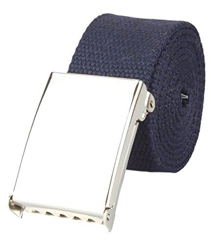 Cinturón en tela de alta calidad de 4cm anchura con hebilla reversible en navy | Longitud total : 100cm = tamaño de la cintura 85cm