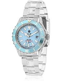 Ike BR005 - Reloj con correa de piel para hombre, color azul / gris
