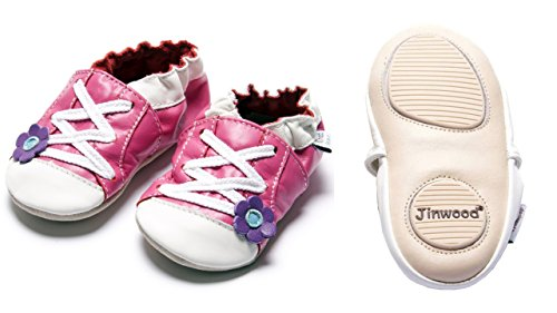 Jinwood designed by amsomo - Girls - Maedchen - Hausschuhe - Lederpuschen - Krabbelschuhe - soft sole / mini shoes div. Groeßen sportive flower fuchsia mini shoes