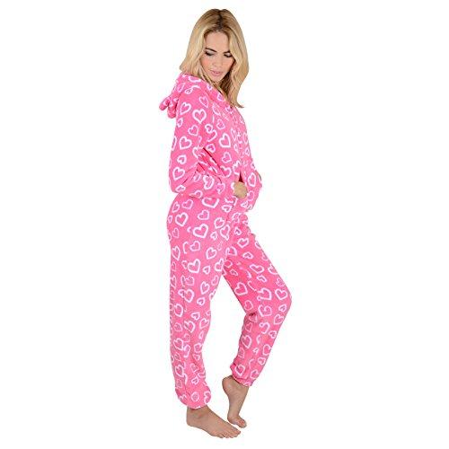 Damen Fleece Pyjama – Rosa Herzen Onesie - 5