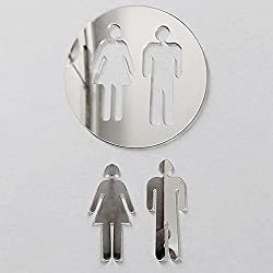 Pinzhi acrylique 3D Miroir Sticker mural WC WC porte d'entrée caractères DIY autocollants pour décoration murale, Silber, 100 x 140 cm