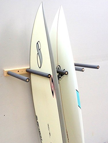 16 arms are solid birch 3/4 inch thick with foam padding to protect your boards;Solid Construction. Routed finished edges. Pre-drilled screw holes;Comes with mounting hardware;35 wide;Made in the USA