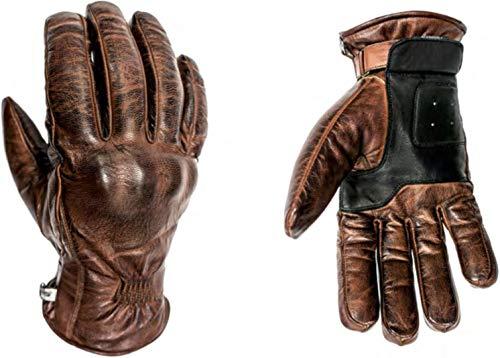 HELSTONS Spartan - Guanti da moto invernali in pelle cammello/nero, T8