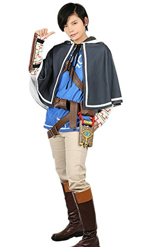 ValuePack Herren Breath Wild Link Kostüm Zelda Cosplay Kleidung Mantel & Tunika Outfit mit Zubehör for Halloween Merchandise (Link Shield Kostüm)