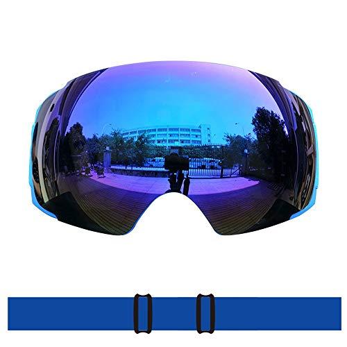 XMIMI Skibrille Männer und Frauen Doppelschicht-Objektiv Anti-Fog und Anti-UV-TPU-Material Rahmen Super Starke Zähigkeit effiziente Auspuff mit Magnet-Kletterbrille -
