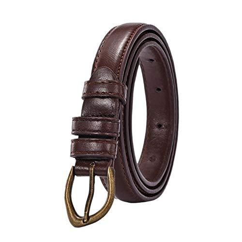 Grapefruit09 Cinturón de piel sintética de poliuretano para mujer, estilo coreano, color negro y caqui, con hebilla, para mujer - Caqui - 100 cm