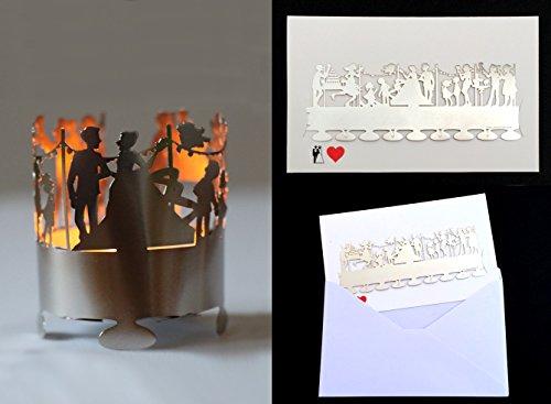 Hochzeitskarte mit Metallwindlicht - Schicken Sie einen Hochzeitsgruß für die Ewigkeit - Das schöne Metallwindlicht ist Teil Ihrer Hochzeitsglückwünsche und ist im Handumdrehen aufgebaut - So schön waren Hochzeitswünsche noch nie