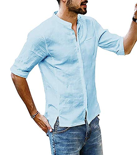 Onsoyours Herren Hemd Henley Leinenhemd Roll-up Sleeve & Kurzarm Freizeithemd Casual Sommer Men Shirts C Hellblau X-Large (C C Shirts)