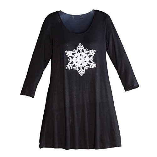Drape Neck Knit Top (Snowflake Tunic Top)