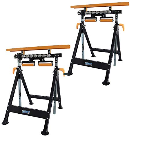 2 Stück TrutzHolm® Werkbank höhenverstellbar Rollenbock Klappbock V-Rollen klappbar 200 kg Werktisch 4 in 1