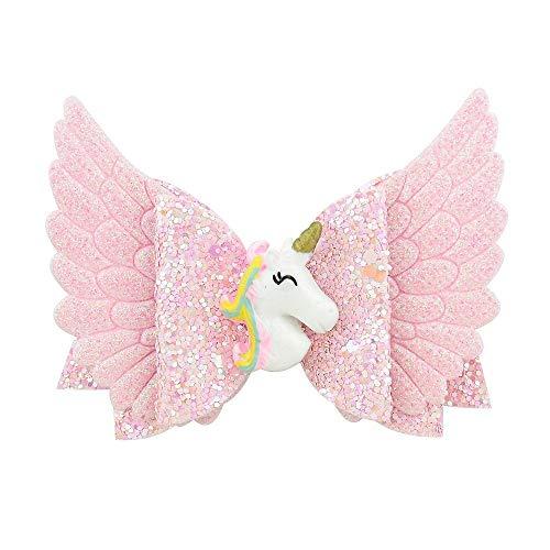 JING Kopfbedeckung Glitter Angle Wing Haarschleifen Unicorn Bows Girls Hairpins2