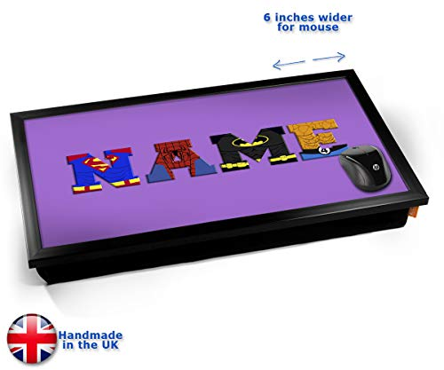 Purple Superhero Personalised Childrens Name Cushioned Bean Bag Laptop Lap Tray Desk - Built-in EMF...