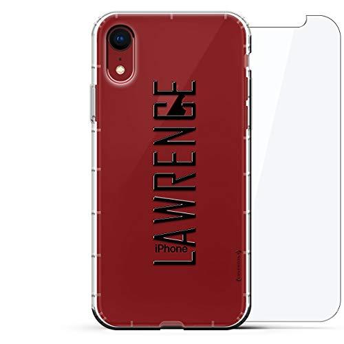 Luxendary Designer, 3D-Druck, Mode, Luftpolster-Kissen, 360 Glas-Schutz-Set für iPhone XR - Klare Albanian Flagge, Name: Lawrence, Stil MIT MODERNER Schriftart, farblos