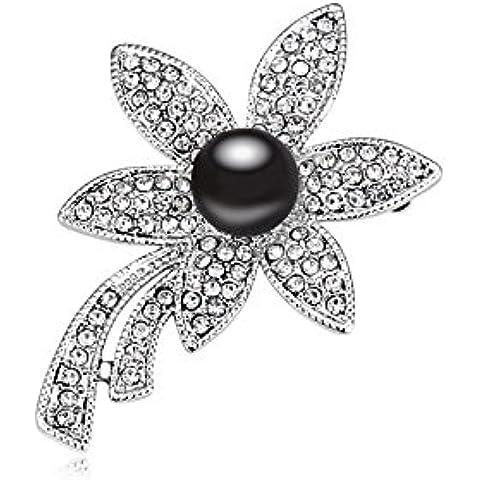 DEPOT TRESOR perno en forma de flor con perla y cristales de Swarovski, color perla patines, color negro