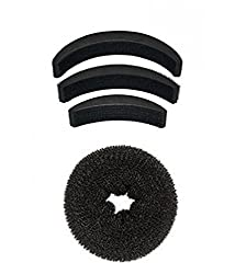 AASA Hair Bumpits With Donut, Hair Volumizer Accessories For Women Stylish Tools, Black, 30 Gram, Pack Of 1