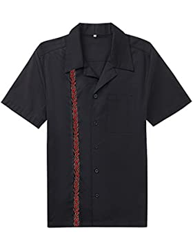 Candow Look camisas de hombre negro algod¨®n flame pattern print