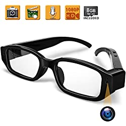 WISEUP 8GB 1920x1080P Spycam Brille Full HD Versteckt Kamera Gläser Tragbarer Videobrille mit SD Aufzeichnung