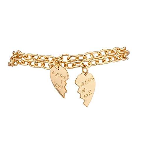 Lux Accessoires partenaires en Crime BFF C?ur Best Friends Charm Bracelets (2Pc)