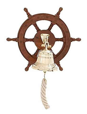 Deco 79 Wood Ship Wheel Bell, 12 by 12-Inch by Deco 79