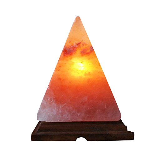 EPHVODI Hand Carved Pyramid/Triangle Himalayan Salt Lamp with Wooden Base, Bulb, Lamp...