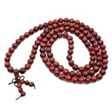 Jarodiso Collar de Perlas de Madera y Cuentas de los Hombres y Las Mujeres 108 Cuentas Oración Budista Tibetana Buda Lama Collar