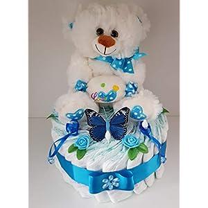 Windeltorte blau XL, Geschenk zum Geburt, Taufe, Babyparty Junge, Windeln