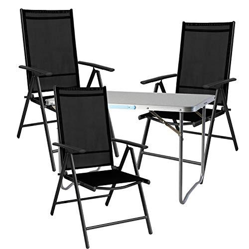 Mojawo 4 Piezas. Multistore 2002 - Juego de Muebles de Camping (Aluminio, 70 x 50 x 59 cm, 1 Mesa de Camping con asa y 3 sillas Plegables), Color Negro