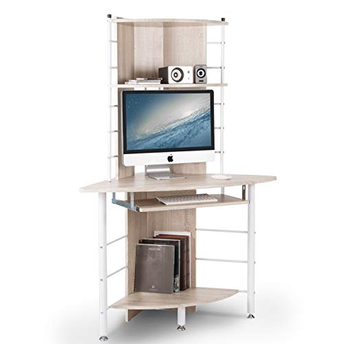 BTM - Mueble esquinero con escritorio compacto para ordenador con 3estantes