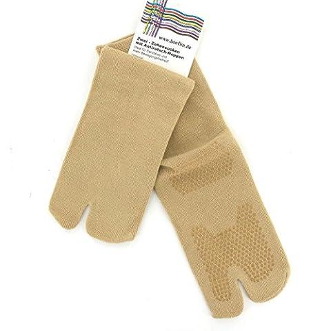 Chaussettes avec 1 doigt et semelle antidérapante, beiges, taille M