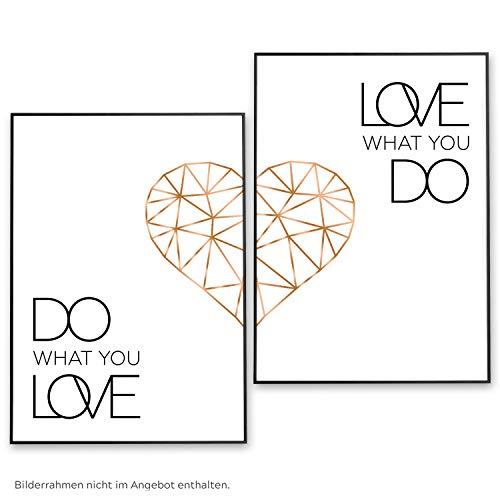 POSTER-SET mit Spruch DO WHAT YOU LOVE 50x70 mit Herz in Rose-Gold - BILDER-SET XXL Typographie -...