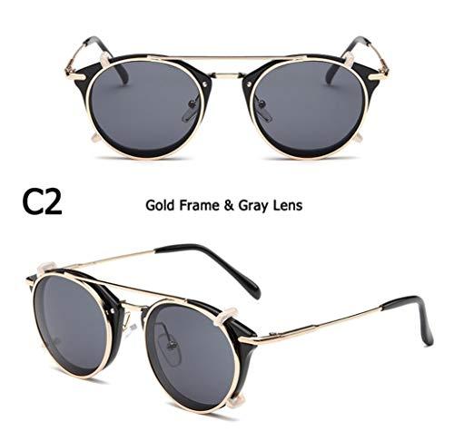 Mode SteamPunk-Stil Objektiv Abnehmbare Coole Sonnenbrille Clip Auf Vintage Brand Design Sonnenbrille Oculos De Sol (Lenses Color : C2)